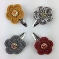 4 x Crocheted Flower Hair Clips   Mustard & Grey   Hand Crochet   Party Favour