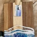 Blue & Aqua Ocean Resin   Personalised Serving Board   Cheese Board  