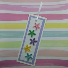 Quilled Bookmark Mix Colour Flowers in Pastels