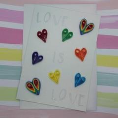 Love is Love Card Rainbow Hearts