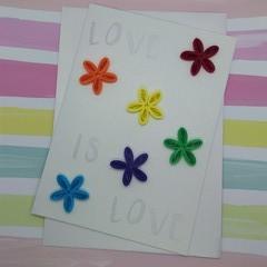 Love is Love Card Rainbow Flowers