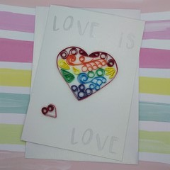 Love is Love Card Rainbow Large Heart