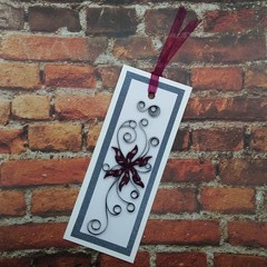 Quilled Bookmark Deep Red Flower and Swirls
