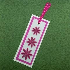 Quilled Bookmark Hot Pink Flower Trio