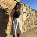 Linen skirt with contrast pockets, beige circle skirt, knee length skirt