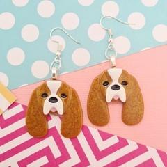 King Charles Cavalier Dog Resin Earrings Jewellery