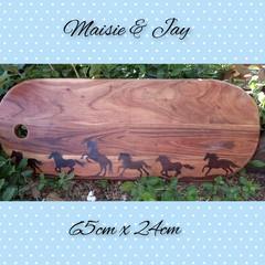 Handburnt Large Wooden Serving Platter