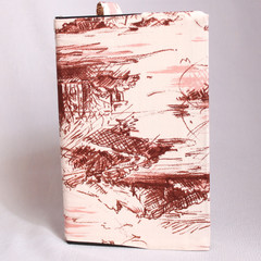 Journal Size Fabric Book Cover (Tan Print)