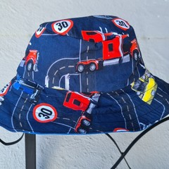 Blue Truck Print Cotton Bucket Hat 43cm