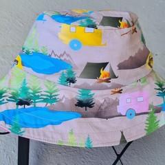 Camping Pink Print Cotton Bucket Hat 50cm