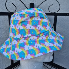 Rainbow Print Cotton Bucket Hat 52cm