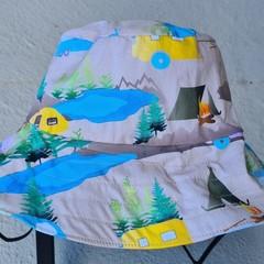 Camping Blue Print Cotton Bucket Hat 50cm