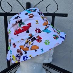 White Red Puppy Print Cotton Bucket Hat 52cm