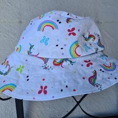 White Unicorn Print Cotton Bucket Hat 50cm