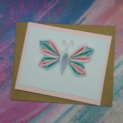 Quilled Card Butterfly in Transgender Colours