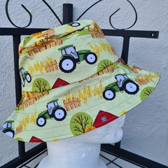 Green Tractor Print Cotton Bucket Hat 52cm