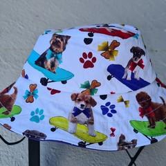 Puppy Print Cotton Bucket Hat 43cm