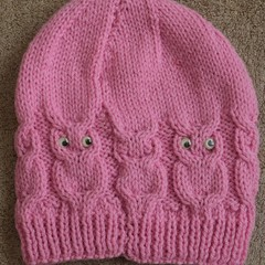 Hand knitted Ladies Cabled Owls Beanie with Eyes.