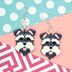 Schnauzer Dog Resin Earrings Jewellery