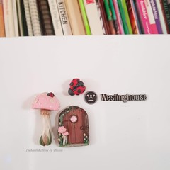 Pink mushroom Fairy door fridge magnet set