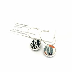 Double Sided Earrings - Fabric Button