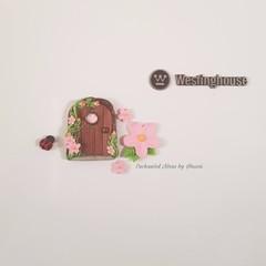 Pink flower Fairy door fridge magnet set