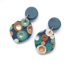 Metallic Dots Freeform Statement earrings