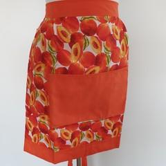 Adult half apron - peaches & bright orange
