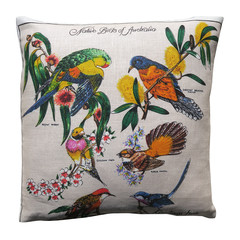 Vintage Retro Australian Native Birds Linen Cushion
