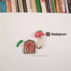 Red mushroom Fairy door fridge magnet set