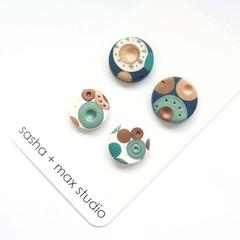 Metallic Dots Stud earrings 2 pairs