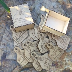 Baby Milestone Cards - Wooden 'Cattle Ear Tag' Style - SET of 15 with box