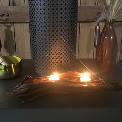 unique driftwood candle holder with incense and  tealight candles
