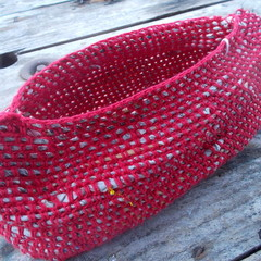 """Crocheted """"boat"""" basket made from cotton and newspaper yarns."""