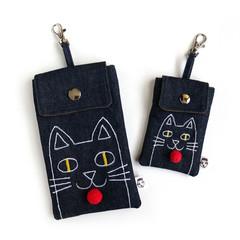 Handmade Pouch - Denim Cat