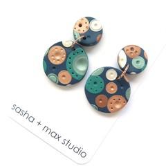 Metallic Dots Disc Statement earrings