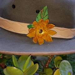 Yellow flower head band/hat band