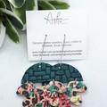 Cork/Genuine Leather Earrings, Teal, Floral/Leopard