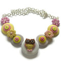Girls button necklace - Owl's Flowers