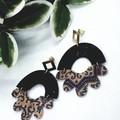 Printed Cork Earrings, Black/Gold