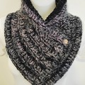 Joined scarf Black with pinks and purples beautiful and soft thick and warm.