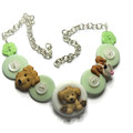Girls button necklace - Puppy Pals