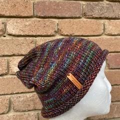 Knitted slouchy beanie purple rainbow mens or ladies merino slouchy beanie colou