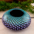 Shaded Turquoise and Purple. Gold detail.Hand Painted Tealight Candle Holder 9cm