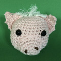 Pale Pink Pig Ball Toy with White Hair and Tail