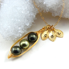 Three Peas In A Pod Shades Of Green Personalized Necklace