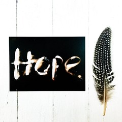 Inspiration Home Decor Print, HOPE 5x7 inches, black and white photogram process