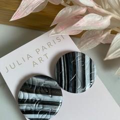 Gradient Black and White Stamped Handmade Circle Stud Earrings