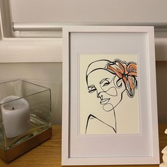 """""""Lady Tranquil"""" Line Drawing Framed A4 Artwork"""
