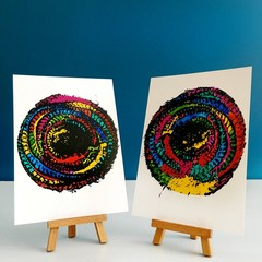 Colourful Art Print Set of Two, Abstract Ink Circles, 5x7 inches